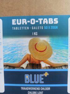 Blue+ Trage Chloor tabletten (20GR ) -1 kg promo actie