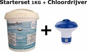 Meister4all Power 20 gram kristal chloor Mini Flacon Desinfectie- en Anti-algmiddel voor Zwembaden - 1 kg (Chloor tabletten 90% actief chloor) met chloor drijver