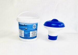 Meister4all Power 200 gram kristal chloor Mini Flacon Desinfectie- en Anti-algmiddel voor Zwembaden - 1 kg (Chloor tabletten 90% actief chloor) met chloor drijver