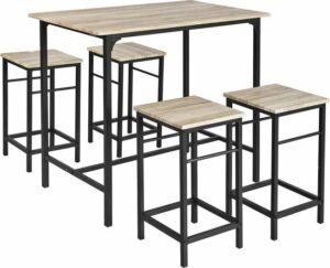 Bartafel set met houten blad en metalen frame + 4 bar krukken - 100 x 60 x 87 cm