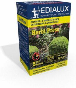 Edialux Herbi press 500ml tegen onkruid tussen bloemen en struiken