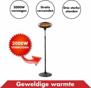 Elektrische Staande Terrasverwarmer – Met 3 Warmte Standen Tot 2000 Watt – Heater