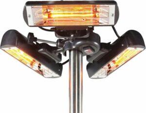 Elektrische verwarming Sunbeam voor parasol en partytent - 2400 W - Golden tube halogeen lampen - Zwart