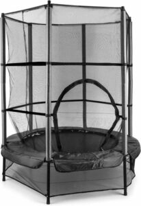 Klarfit Trampoline 140cm , Ingebouwd vangnet met beklede stangen, Polypropyleen springmat met innovatieve bungee-vering