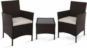 LifeGoods Rotan Tuinstoelen Set - 3-Delig - Twee Fauteuils en Bijzet Tafel - Glazen Tafelblad - Incl. Kussens - Weerbestendig - Bruin - Antraciet