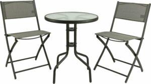 MaxxGarden Tuinset - bistro set - 2 inklapbare stoelen en ronde tafel - voor tuin, terras en balkon - GRIJS