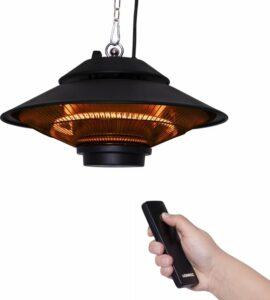 VONROC Heater Albano – Hangende terrasverwarmer 1500W – Zwart – Carbon element – met afstandsbediening