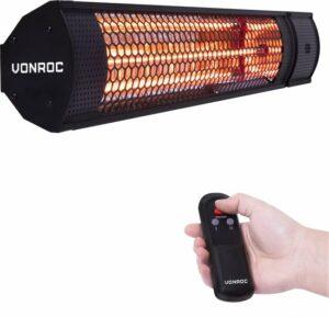 VONROC Heater Marsili 2000W – 2 Warmteniveaus – Zwart – Lowglare element – Met afstandsbediening