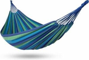 2 Persoons Hangmat - Dubbele Hangmat Blauw - In Opbergtas + Bevestigingstouwen