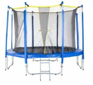 Blauwe trampoline met veiligheidsnet