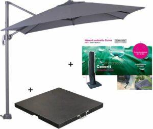 Garden Impressions Hawaii zweefparasol S 250x250 - donker grijs met 60 kg parasolvoet en parasolhoes