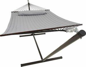 Hangmat met standaard 2 Persoons / 200kg, 190 * 140, Afneembaar kussen, Weerbestendig UV-bestendig (Grijs) VITA5