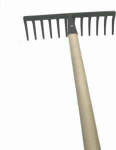 Hark metaal 12-tands gepoedercoat inclusief 150 cm lange houten steel