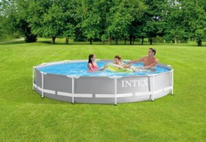 Intex Opzetzwembad - Prism Frame - Ø366 X 99 Cm - Grijs - Met filterpomp en ladder