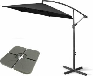 MaxxGarden Parasol - Zweefparasol - Ø300 cm - Zwart - Set met tegels