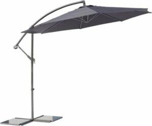 SenS-Line - Parasol Menorca Zweefparasol - Ø300 cm - 8-ribs - Polyester - Antraciet - Met Parasolvoet