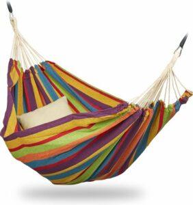 relaxdays 2 persoons hangmat - tot 300 kg - tweepersoons - buiten - katoen - opbergtas geel - groen - blauw - rood