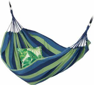 relaxdays 2 persoons hangmat - tot 300 kg - tweepersoons - buiten - katoen - opbergtas turkoois