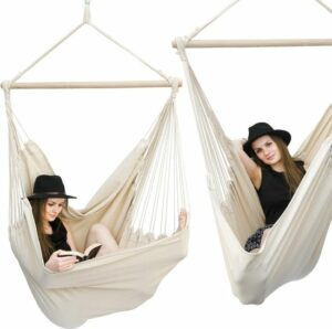 xxl hangstoel 185x130cm hangstoel 2 personen hangstoel tot 150kg katoenen hangmat 360° Swifel