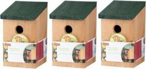 3x Houten vogelhuisje - nestkastje met groen dak 22 cm - Vogelhuisjes tuindecoraties