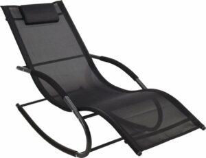 4Goodz schommelstoel lounger met rugkussen - 148x63x85 cm - Antraciet