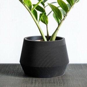 Angel Groovi Luxe Bloempot Ø15cm - Handgemaakt - Modern design - Plantenpot voor binnen en buiten - Zwart
