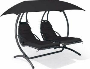 Feel Furniture - Dubbele hangende schommel ligstoel met parasol - Beige