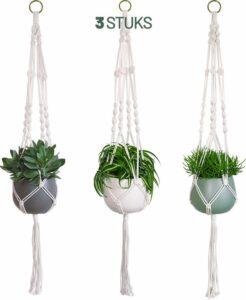 Gadgy Plantenhanger Set van 3 – Macramé stijl hanger voor bloempotten – Handgeweven katoen - Geschikt voor bijna elke bloempot - Hangpot