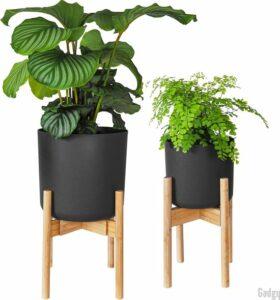 Gadgy Plantenstandaard - Set van 2 - Uitschuifbaar Plantenrek voor Bloempotten voor binnen Ø 20-30 cm - Plantentafel - Duurzaam Bamboe – Sterk en Stevig