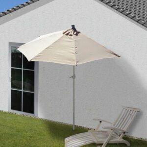 Halve parasol muurparasol balkon parasol Creme met voet