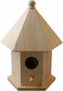 Houten vogelhuisje - nesthuisje van pijnboomhout 16 cm - Vogelhuisjes tuindecoraties