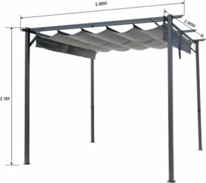 Intimo Garden - Luxe Zonnescherm - Tuinpaviljoen met stalen frame en UV-bestendig dakzeil - Prieel