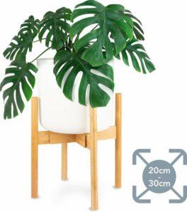 LifeGoods Bamboe Planten Standaard voor Binnen - Uitschuifbare Plant Houder - Krukje en Tafel voor Bloem Potten van 20 cm tot 30 cm - Bamboo - Hout
