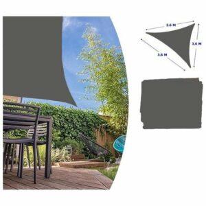 Luxe zonnescherm - schaduwdoek grijs driehoek - 360 x 360 cm - zonwerend zonnedoek