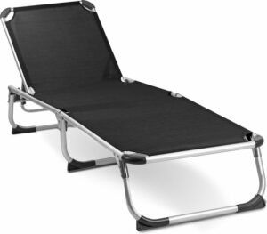 MaxxGarden Aluminium ligbed - voor tuin en zwembad - ligbed met verstelbare rug - 189x59 cm - zwart