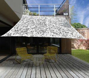 MaxxGarden Camouflage schaduwdoek - vierkant zonnezeil - 3x3 m - WIT