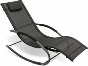 MaxxGarden Ligbed - Schommelstoel voor tuin en zwembad - aluminium - Antraciet - 148x63x85 cm