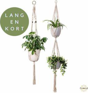 Plantenhanger Macrame Set van 2 - Plantenhanger met ruimte voor 3 Potten