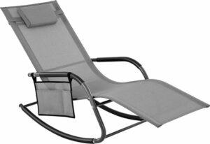 Schommelstoel buiten - tuinstoel met zijvak - Lounge stoel met hoofdsteun - 63x147x89cm grijs
