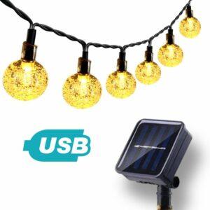 Solar Tuinverlichting op Zonneenergie 3-in-1 – 50 LED's – USB-kabel – 7m Lichtslinger – ø 2,5cm