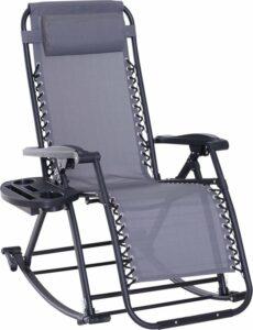 Sunny Schommelstoel opklapbaar en verstelbaar met kussen en bekerhouder grijs tot 120 kg