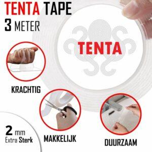 TENTA® Tape - Dubbelzijdig Tape - Montagetape - 3 Meter - Super Sterk - Transparant - Waterproof - Herbruikbaar