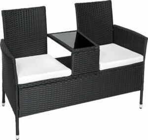 TecTake Tuinbank - Zitbank met tafel + zitkussens - Zwart