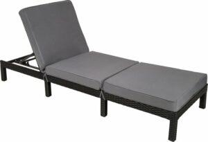 TecTake Wicker ligstoel zwart - ligbed voor tuin