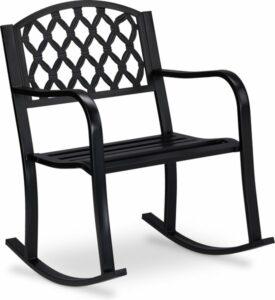 relaxdays schommelstoel buiten - tuinstoel schommel - gietijzer - tuinzetel - antiek zwart