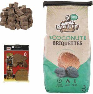 1x barbecuekool- 3kg - kokosbriketten+ 28x Aanmaakblokjes Duurzaam - hoge kwaliteit - kokosnootbasten