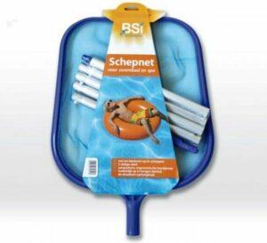 BSI - Schepnet voor zwembad en spa - Met kliksysteem - Ergonomische handgreep - 5-delige steel - Ophanghaak - Schoonmaken zwembad - verwijderen van vuil en bladeren - 140 CM