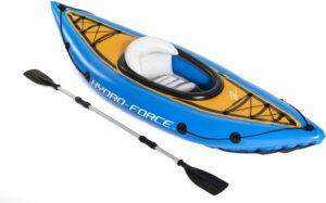 Bestway Hydro Force Cove Champion Kayak - Opblaasbaar - 1-Persoons - met Pomp en Peddel - Blauw
