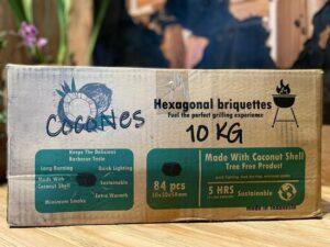 Cocones - Kokosbriketten 10 KG - Hexagonal Briquettes - Coconut Briquettes - BBQ