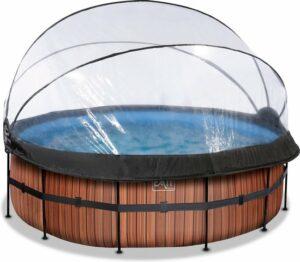 EXIT Wood zwembad ø427x122cm met overkapping en zandfilterpomp - bruin